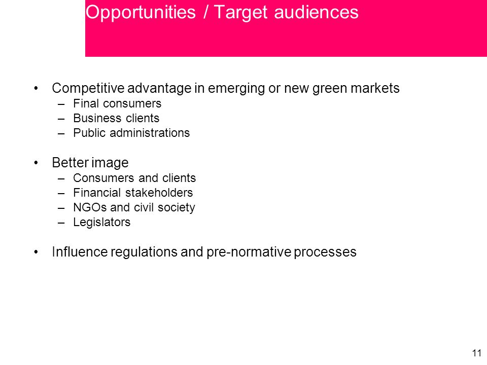 11 Competitive advantage in emerging or new green markets –Final consumers –Business clients –Public administrations Better image –Consumers and clien