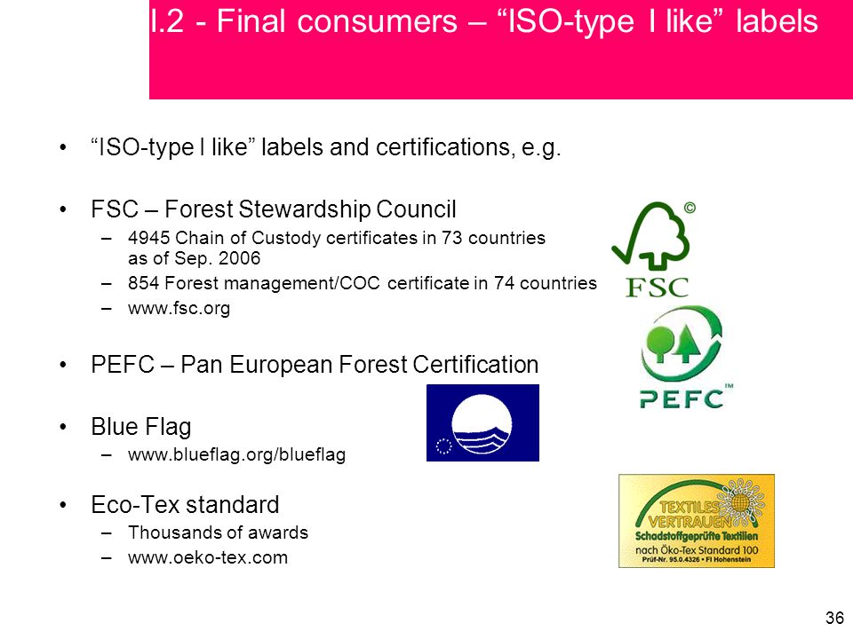 """36 """"ISO-type I like"""" labels and certifications, e.g. FSC – Forest Stewardship Council –4945 Chain of Custody certificates in 73 countries as of Sep. 2"""