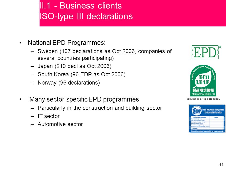 41 National EPD Programmes: –Sweden (107 declarations as Oct 2006, companies of several countries participating) –Japan (210 decl as Oct 2006) –South Korea (96 EDP as Oct 2006) –Norway (96 declarations) Many sector-specific EPD programmes –Particularly in the construction and building sector –IT sector –Automotive sector II.1 - Business clients ISO-type III declarations