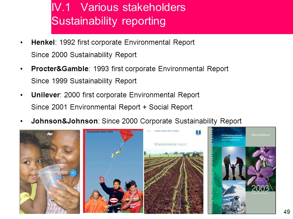 49 Henkel: 1992 first corporate Environmental Report Since 2000 Sustainability Report Procter&Gamble: 1993 first corporate Environmental Report Since