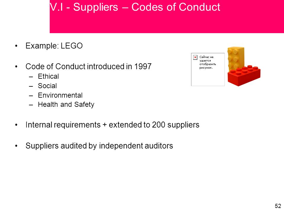 52 V.I - Suppliers – Codes of Conduct Example: LEGO Code of Conduct introduced in 1997 –Ethical –Social –Environmental –Health and Safety Internal req