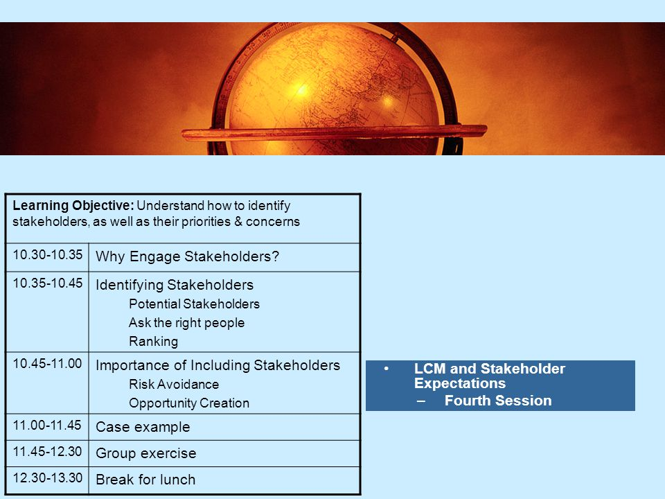 6 6 LCM and Stakeholder Expectations –Fourth Session Learning Objective: Understand how to identify stakeholders, as well as their priorities & concerns 10.30-10.35 Why Engage Stakeholders.