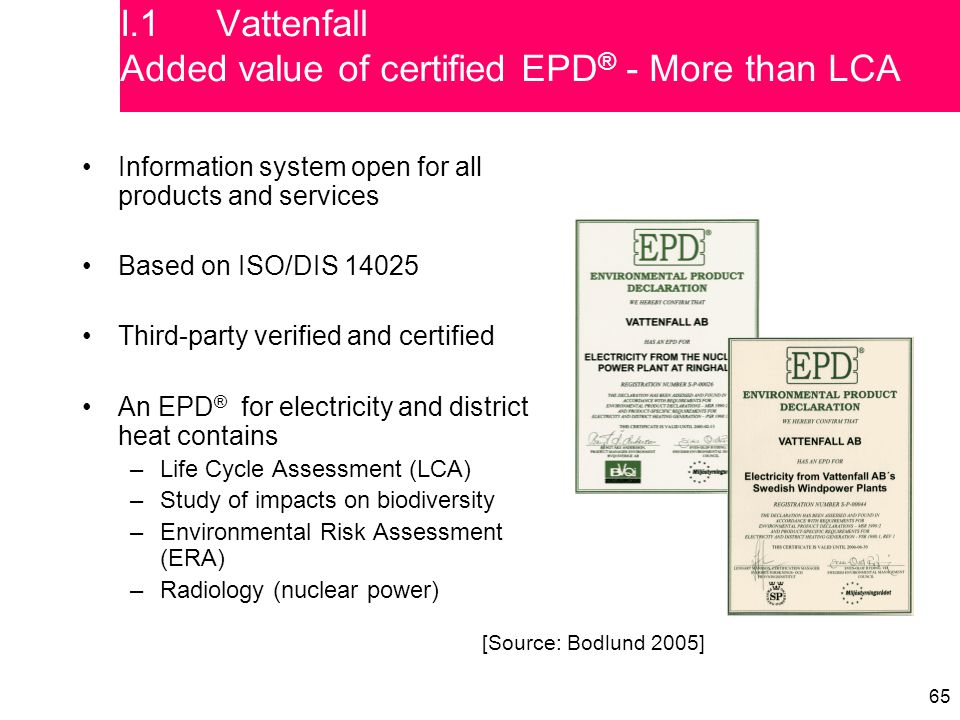65 Information system open for all products and services Based on ISO/DIS 14025 Third-party verified and certified An EPD ® for electricity and district heat contains –Life Cycle Assessment (LCA) –Study of impacts on biodiversity –Environmental Risk Assessment (ERA) –Radiology (nuclear power) [Source: Bodlund 2005] I.1Vattenfall Added value of certified EPD ® - More than LCA