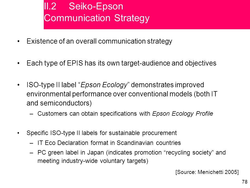 78 Existence of an overall communication strategy Each type of EPIS has its own target-audience and objectives ISO-type II label Epson Ecology demonstrates improved environmental performance over conventional models (both IT and semiconductors) –Customers can obtain specifications with Epson Ecology Profile Specific ISO-type II labels for sustainable procurement –IT Eco Declaration format in Scandinavian countries –PC green label in Japan (indicates promotion recycling society and meeting industry-wide voluntary targets) [Source: Menichetti 2005] II.2Seiko-Epson Communication Strategy