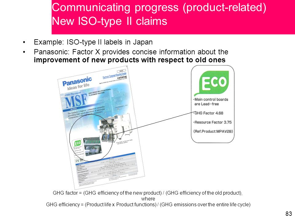 83 Example: ISO-type II labels in Japan Panasonic: Factor X provides concise information about the improvement of new products with respect to old ones Communicating progress (product-related) New ISO-type II claims GHG factor = (GHG efficiency of the new product) / (GHG efficiency of the old product), where GHG efficiency = (Product life x Product functions) / (GHG emissions over the entire life cycle)