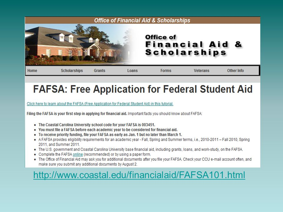 http://www.coastal.edu/financialaid/FAFSA101.html