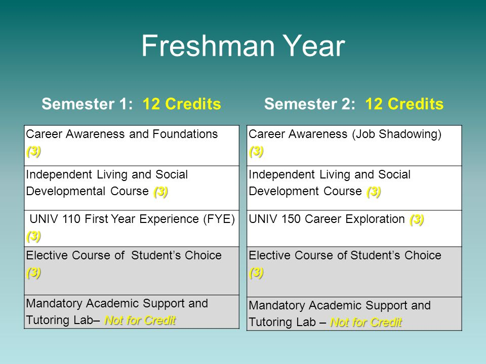 Freshman Year Semester 1: 12 Credits Career Awareness and Foundations(3) (3) Independent Living and Social Developmental Course (3) (3) UNIV 110 First Year Experience (FYE) (3) Elective Course of Student's Choice (3) (3) Not for Credit Mandatory Academic Support and Tutoring Lab– Not for Credit Semester 2: 12 Credits (3) Career Awareness (Job Shadowing) (3) (3) Independent Living and Social Development Course (3) (3) UNIV 150 Career Exploration (3) (3) Elective Course of Student's Choice (3) Not for Credit Mandatory Academic Support and Tutoring Lab – Not for Credit