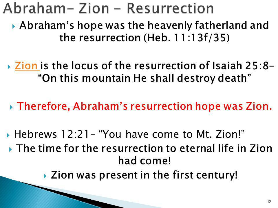  Abraham's hope was the heavenly fatherland and the resurrection (Heb.