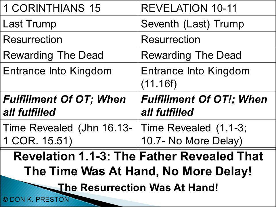 1 CORINTHIANS 15REVELATION 10-11 Last TrumpSeventh (Last) Trump Resurrection Rewarding The Dead Entrance Into KingdomEntrance Into Kingdom (11.16f) Fulfillment Of OT; When all fulfilled Fulfillment Of OT!; When all fulfilled Time Revealed (Jhn 16.13- 1 COR.
