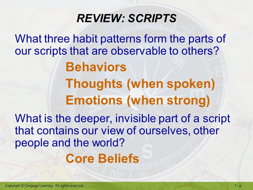 7   4 Copyright © Cengage Learning. All rights reserved. REVIEW: SCRIPTS What three habit patterns form the parts of our scripts that are observable t