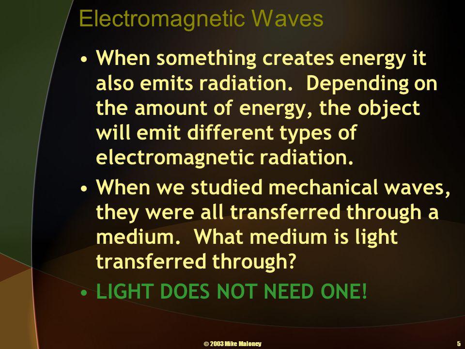© 2003 Mike Maloney5 Electromagnetic Waves When something creates energy it also emits radiation.