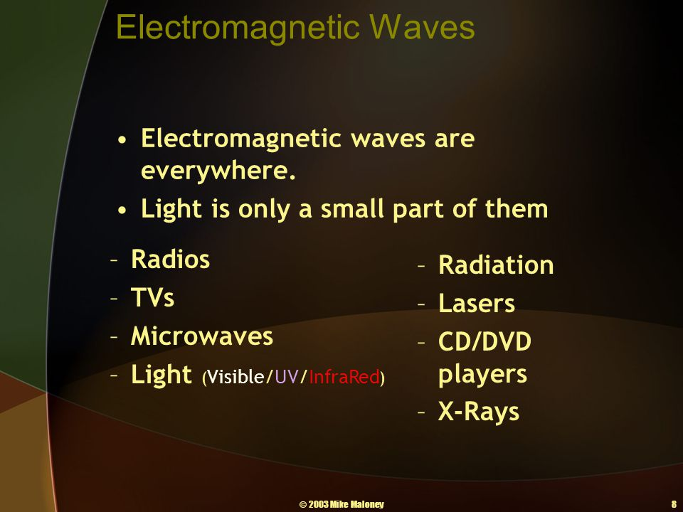 © 2003 Mike Maloney8 Electromagnetic Waves Electromagnetic waves are everywhere. Light is only a small part of them –Radios –TVs –Microwaves –Light (