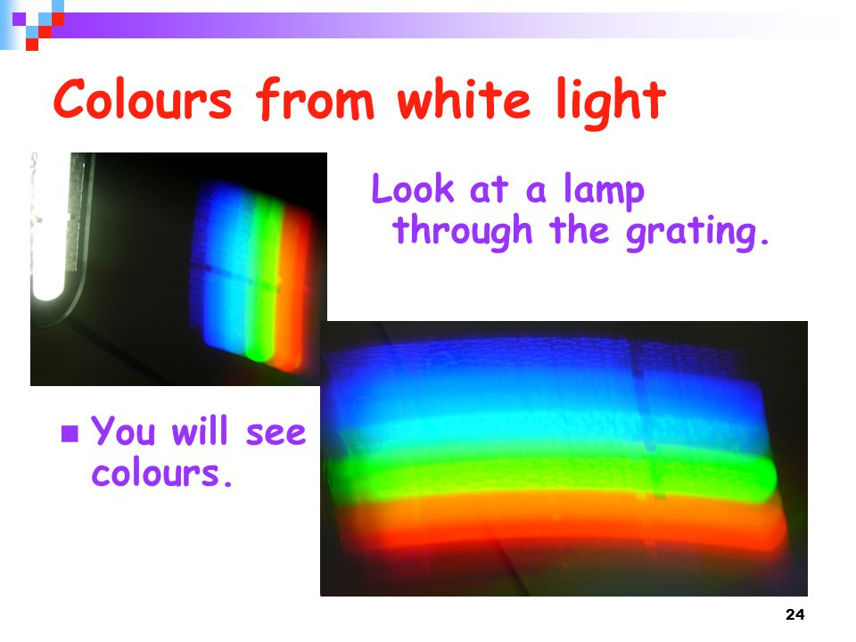 24 Colours from white light Look at a lamp through the grating. You will see colours.