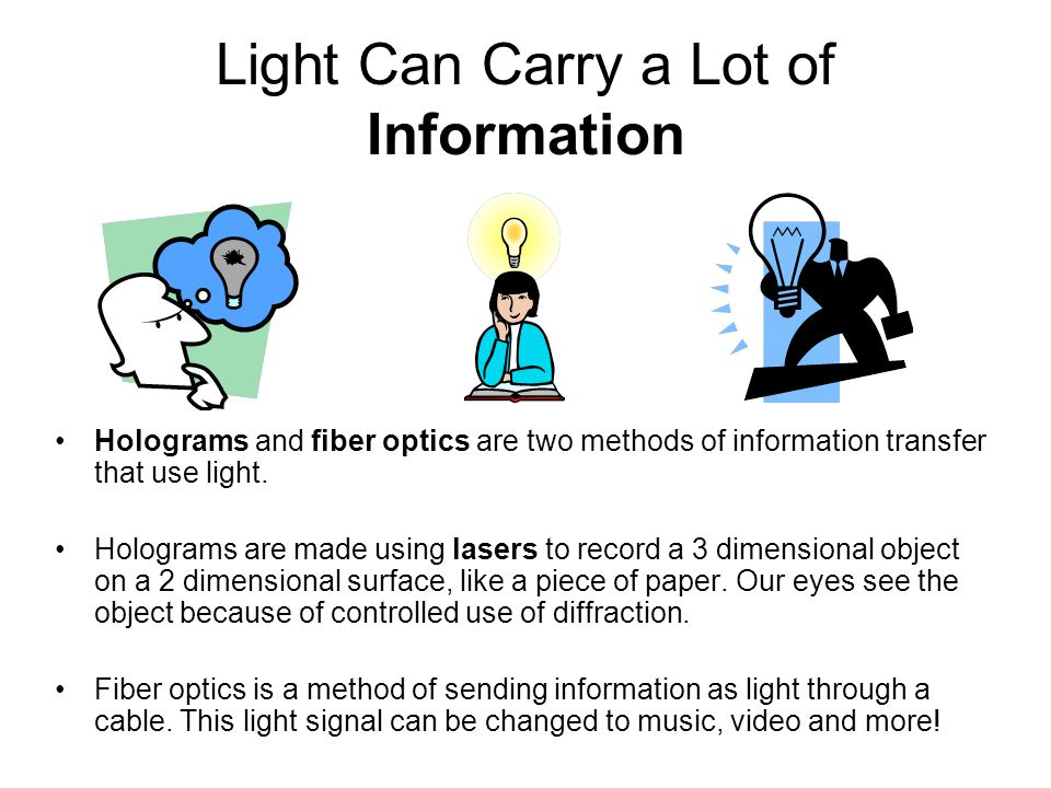Light Can Carry a Lot of Information Holograms and fiber optics are two methods of information transfer that use light. Holograms are made using laser