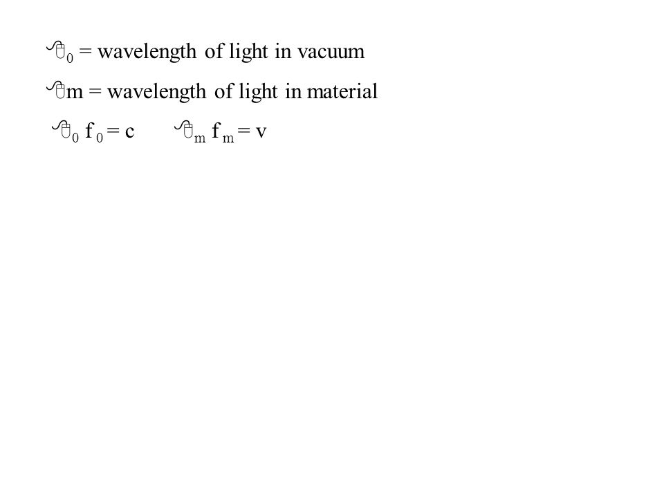 8 0 = wavelength of light in vacuum 8 m = wavelength of light in material 8 0 f 0 = c 8 m f m = v