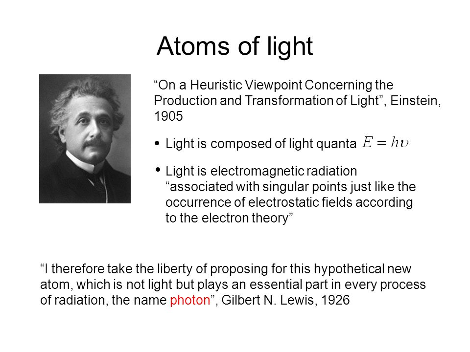 Atoms of light On a Heuristic Viewpoint Concerning the Production and Transformation of Light , Einstein, 1905 Light is composed of light quanta Light is electromagnetic radiation associated with singular points just like the occurrence of electrostatic fields according to the electron theory I therefore take the liberty of proposing for this hypothetical new atom, which is not light but plays an essential part in every process of radiation, the name photon , Gilbert N.