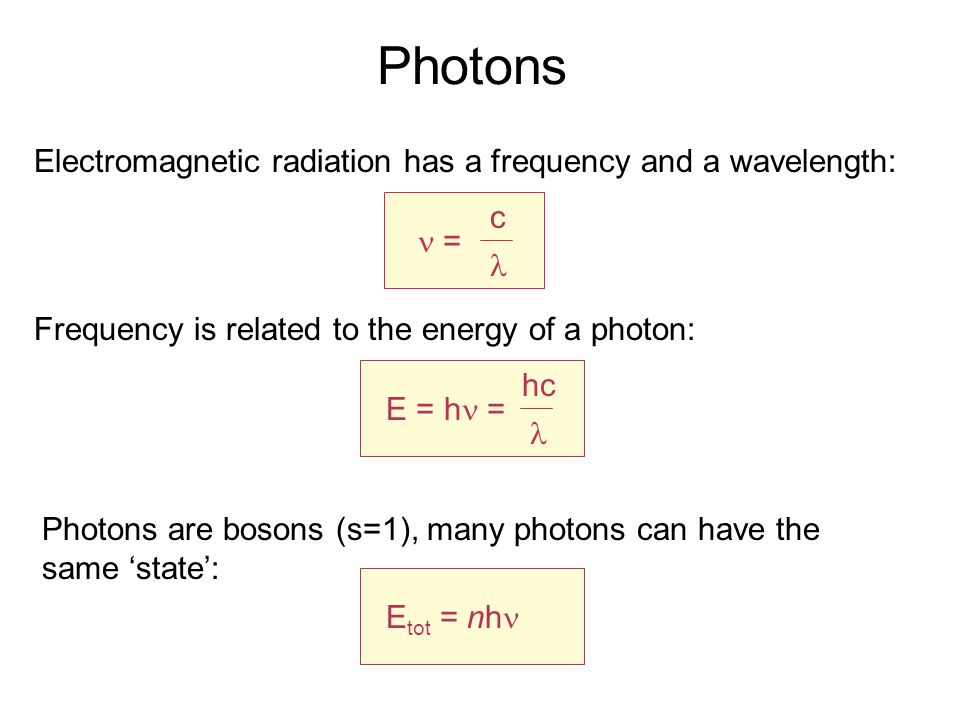 Photons Electromagnetic radiation has a frequency and a wavelength: = c Frequency is related to the energy of a photon: E = h = hc Photons are bosons (s=1), many photons can have the same 'state': E tot = nh