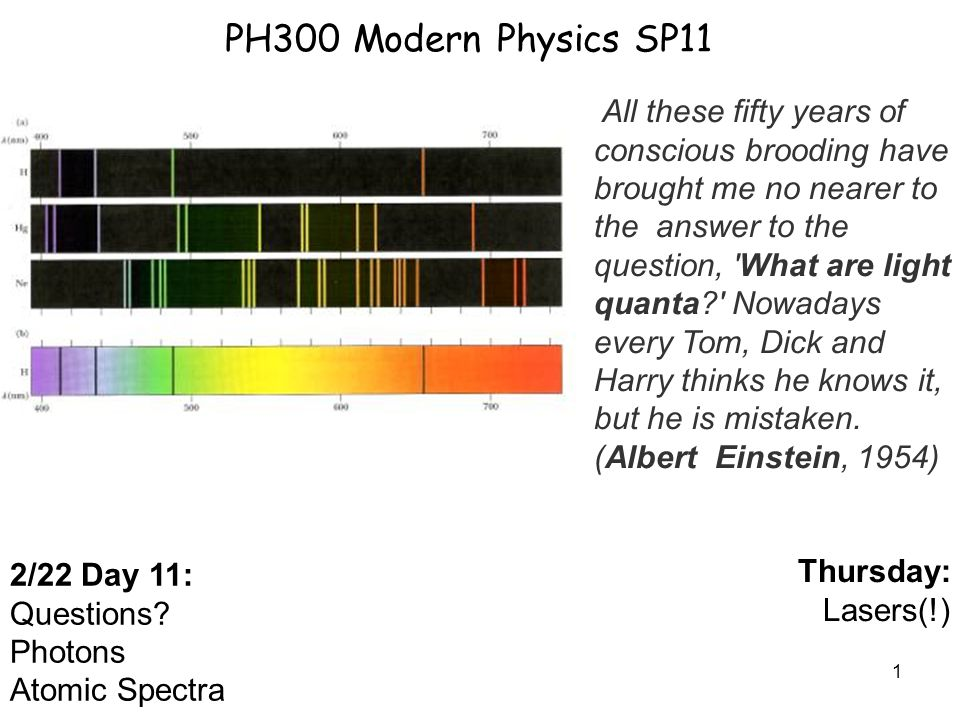 1 PH300 Modern Physics SP11 2/22 Day 11: Questions? Photons Atomic Spectra Thursday: Lasers(!) All these fifty years of conscious brooding have brough
