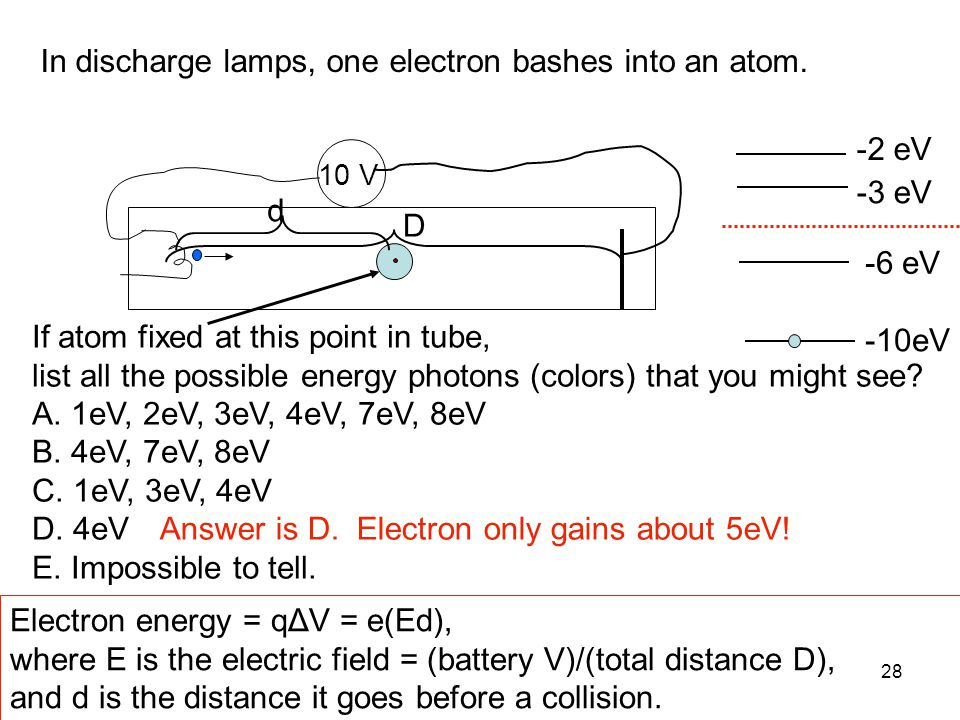 28 In discharge lamps, one electron bashes into an atom. 10 V If atom fixed at this point in tube, list all the possible energy photons (colors) that
