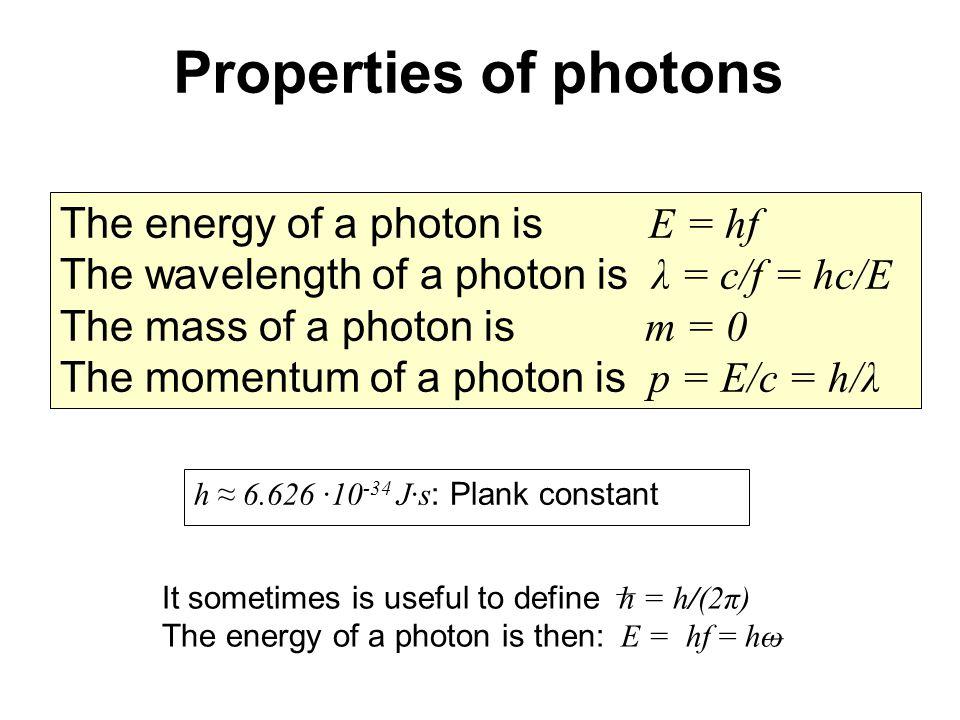 The energy of a photon is E = hf The wavelength of a photon is λ = c/f = hc/E The mass of a photon is m = 0 The momentum of a photon is p = E/c = h/λ