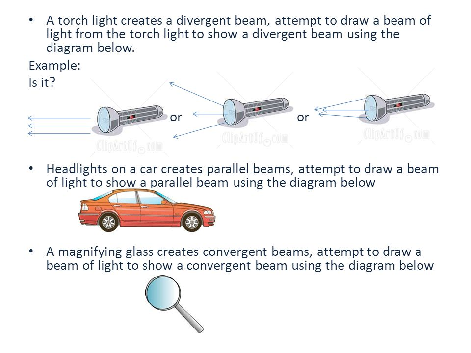 A torch light creates a divergent beam, attempt to draw a beam of light from the torch light to show a divergent beam using the diagram below.