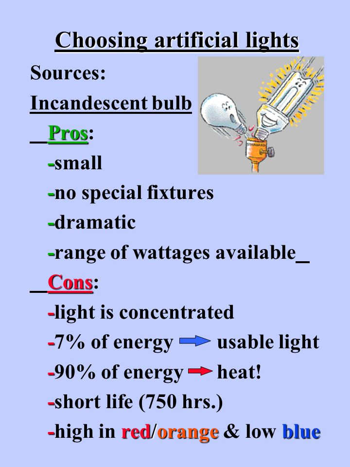 Choosing artificial lights Sources: Incandescent bulb Pros Pros: - -small - -no special fixtures - -dramatic - -range of wattages available Cons Cons: - -light is concentrated - -7% of energy usable light - -90% of energy heat.
