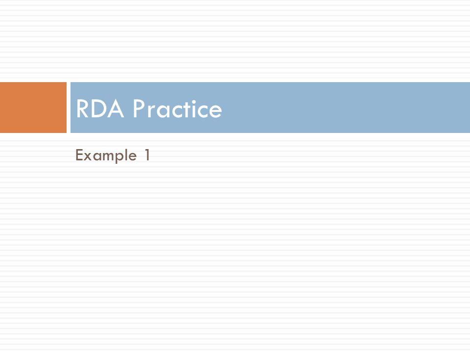 RDA Practice Example 1