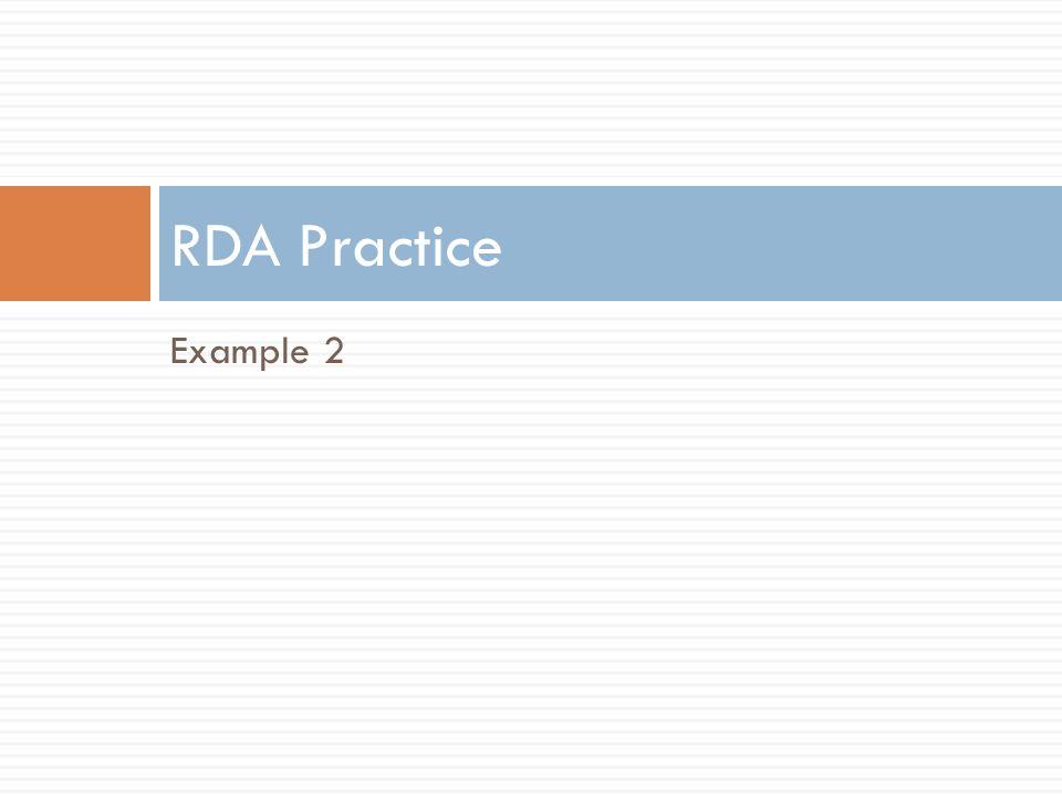 RDA Practice Example 2