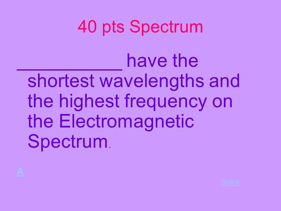 30 pts spectrum answer board