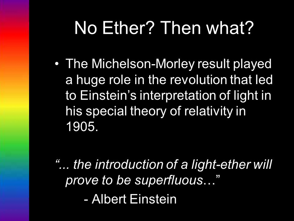 No Ether? Then what? The Michelson-Morley result played a huge role in the revolution that led to Einstein's interpretation of light in his special th