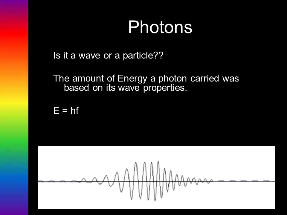 Photons Is it a wave or a particle?? The amount of Energy a photon carried was based on its wave properties. E = hf