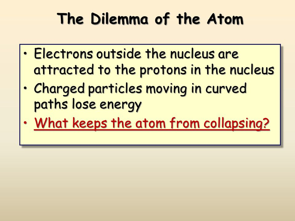 The Dilemma of the Atom Electrons outside the nucleus are attracted to the protons in the nucleusElectrons outside the nucleus are attracted to the protons in the nucleus Charged particles moving in curved paths lose energyCharged particles moving in curved paths lose energy What keeps the atom from collapsing What keeps the atom from collapsing.