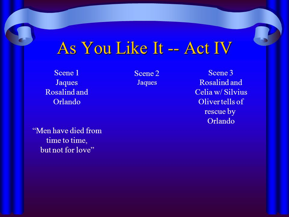 """As You Like It -- Act IV Scene 1 Jaques Rosalind and Orlando """"Men have died from time to time, but not for love"""" Scene 2 Jaques Scene 3 Rosalind and C"""