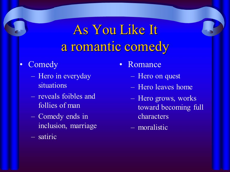 As You Like It a romantic comedy Comedy –Hero in everyday situations –reveals foibles and follies of man –Comedy ends in inclusion, marriage –satiric