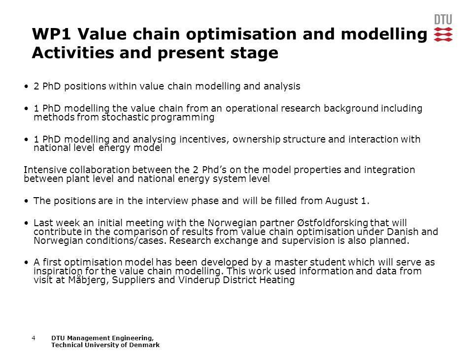 4DTU Management Engineering, Technical University of Denmark WP1 Value chain optimisation and modelling Activities and present stage 2 PhD positions w