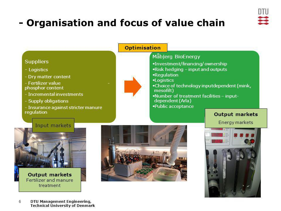 6DTU Management Engineering, Technical University of Denmark - Organisation and focus of value chain Suppliers - Logistics - Dry matter content - Fert