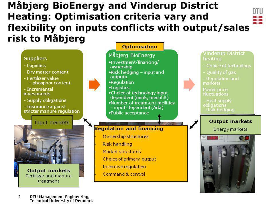 7DTU Management Engineering, Technical University of Denmark Måbjerg BioEnergy and Vinderup District Heating: Optimisation criteria vary and flexibili