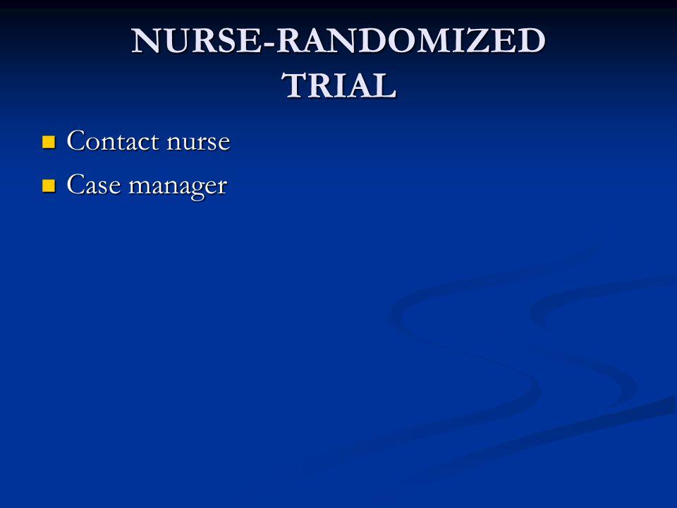 NURSE-RANDOMIZED TRIAL Contact nurse Contact nurse Case manager Case manager