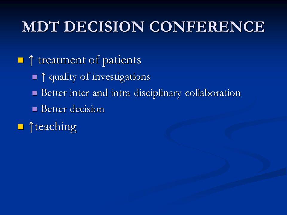 MDT DECISION CONFERENCE 2 x week 10- 15 cases app.