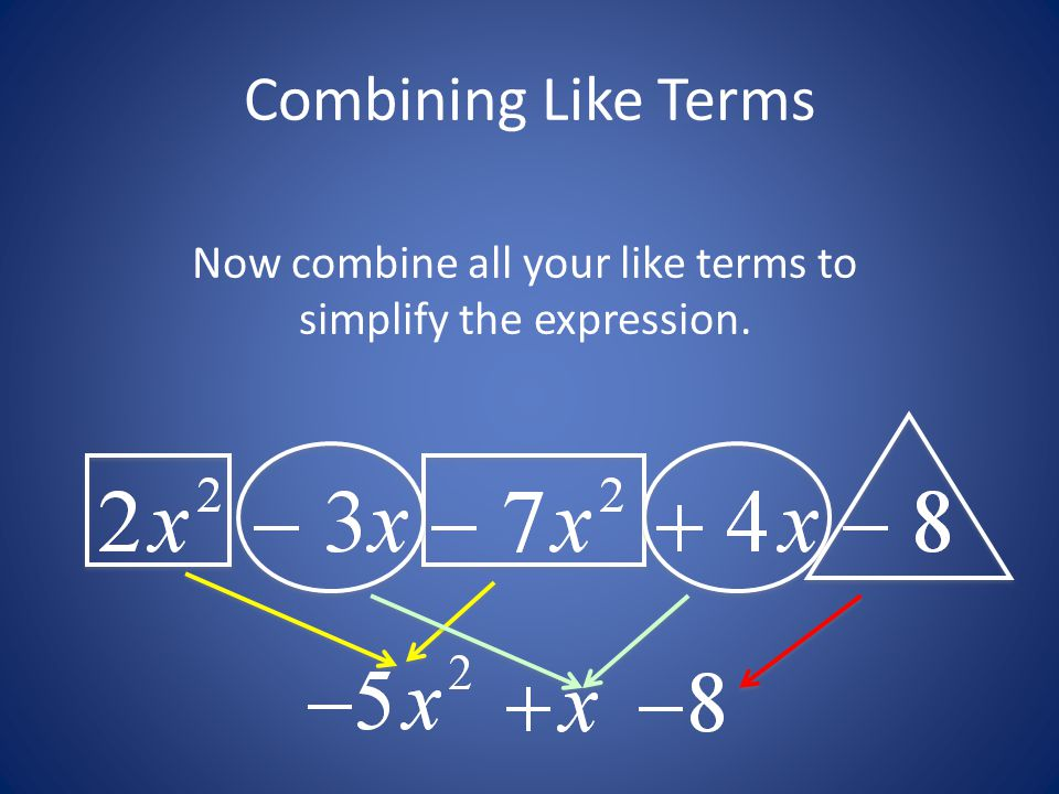 Combining Like Terms Now combine all your like terms to simplify the expression.