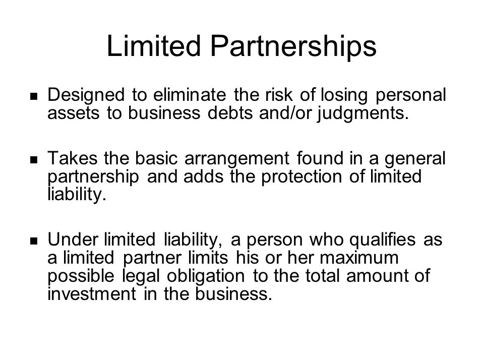 The General Partners The certificate of limited partnership must also identify the general partners.