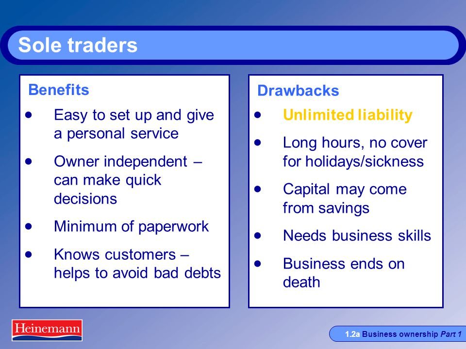 1.2a Business ownership Part 1 Sole traders  Easy to set up and give a personal service  Owner independent – can make quick decisions  Minimum of paperwork  Knows customers – helps to avoid bad debts  Unlimited liability  Long hours, no cover for holidays/sickness  Capital may come from savings  Needs business skills  Business ends on death Benefits Drawbacks