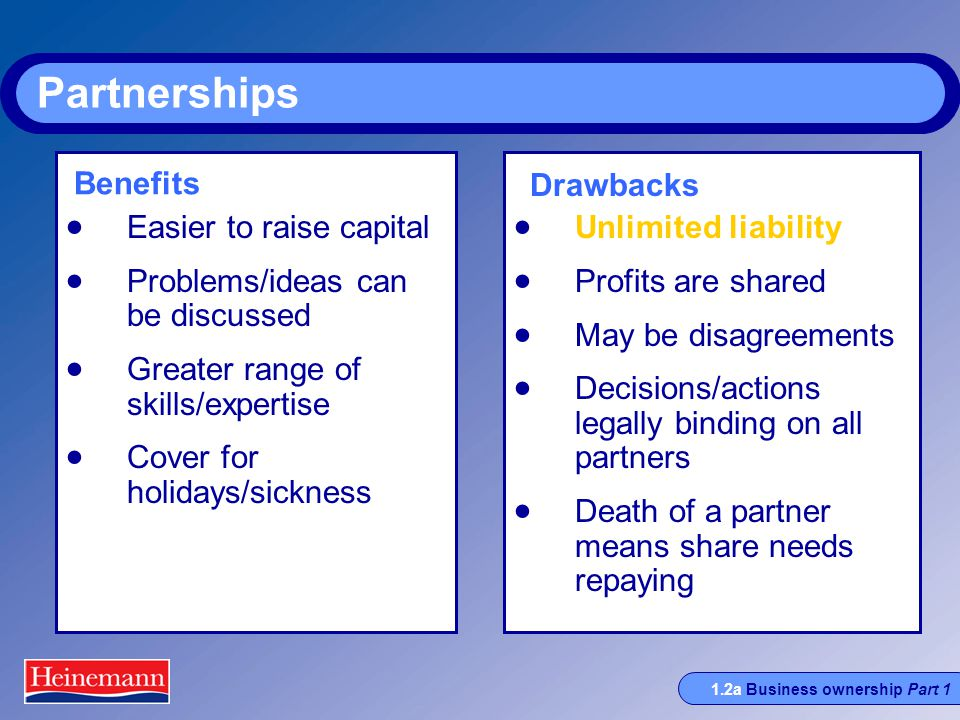 1.2a Business ownership Part 1 Partnerships  Easier to raise capital  Problems/ideas can be discussed  Greater range of skills/expertise  Cover for holidays/sickness  Unlimited liability  Profits are shared  May be disagreements  Decisions/actions legally binding on all partners  Death of a partner means share needs repaying Benefits Drawbacks