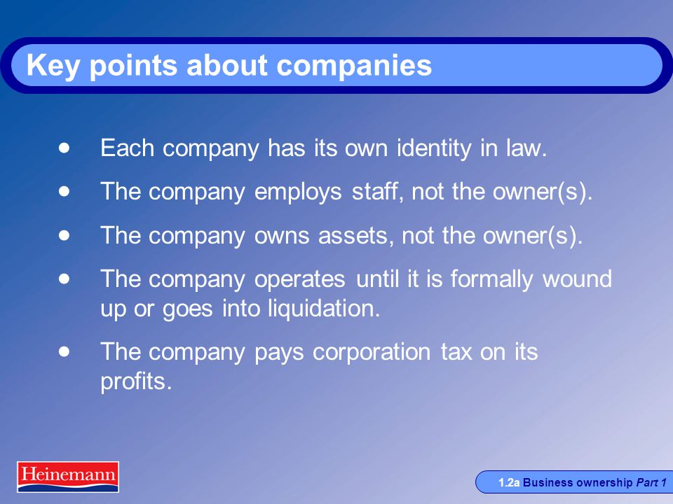 1.2a Business ownership Part 1 Key points about companies  Each company has its own identity in law.