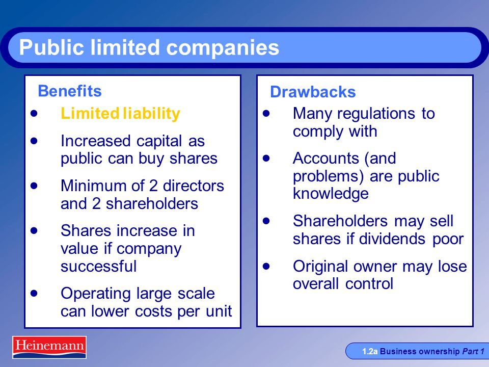 1.2a Business ownership Part 1 Public limited companies  Limited liability  Increased capital as public can buy shares  Minimum of 2 directors and 2 shareholders  Shares increase in value if company successful  Operating large scale can lower costs per unit  Many regulations to comply with  Accounts (and problems) are public knowledge  Shareholders may sell shares if dividends poor  Original owner may lose overall control Benefits Drawbacks