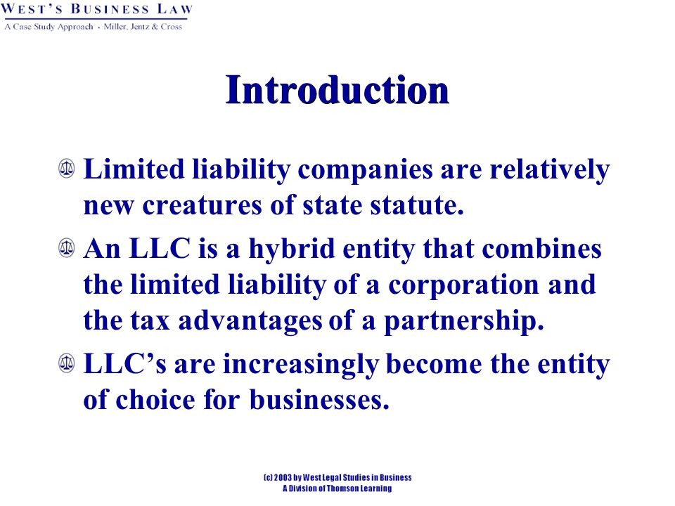 § 1: LLC's 1997 IRS rules provide that any unincorporated business (including LLC's) will automatically be taxed as a partnership unless otherwise indicated on the tax return.