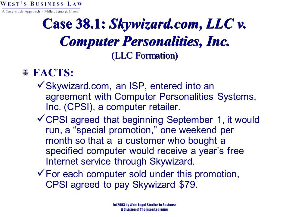 Case 38.1: Skywizard.com, LLC v. Computer Personalities, Inc.