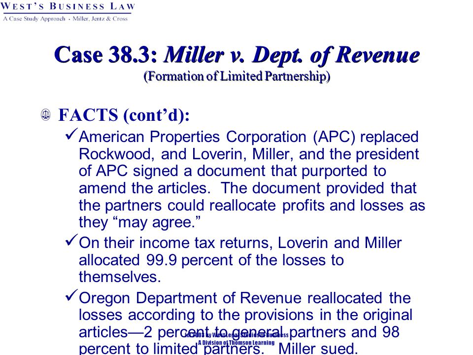 FACTS (cont'd): American Properties Corporation (APC) replaced Rockwood, and Loverin, Miller, and the president of APC signed a document that purported to amend the articles.