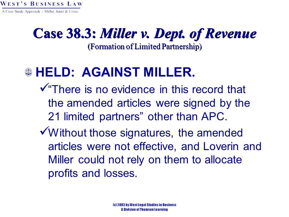 HELD: AGAINST MILLER.