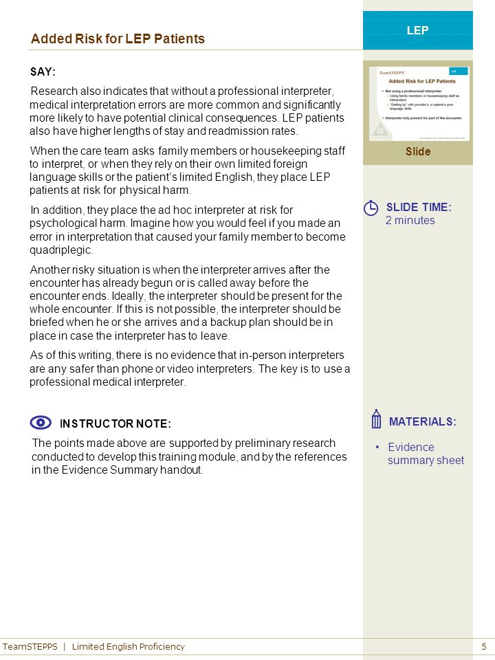 TeamSTEPPS | Limited English Proficiency Slide LEP 5 Added Risk for LEP Patients SAY: Research also indicates that without a professional interpreter,